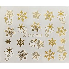 Vánoční zlaté vodolepky - GY12