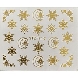 Vánoční zlaté vodolepky - GY16