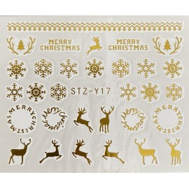 Vánoční zlaté vodolepky - GY17