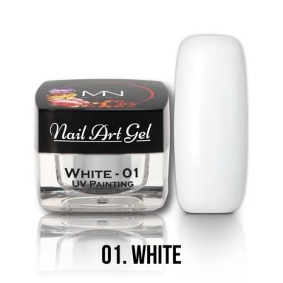 UV Painting Nail Art Gel - 01 - bílý - 4g